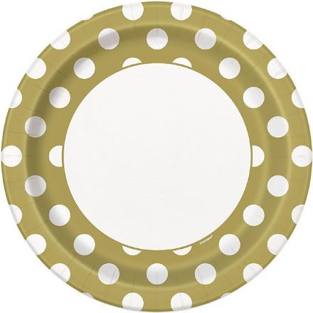 8 50th Anniversary Gold Dots Paper Plates